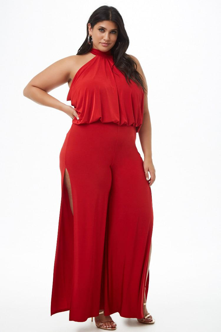 4e549a899e3 Forever 21 Women s Plus Size Sheeny Halter Split-leg Jumpsuit in Red ...