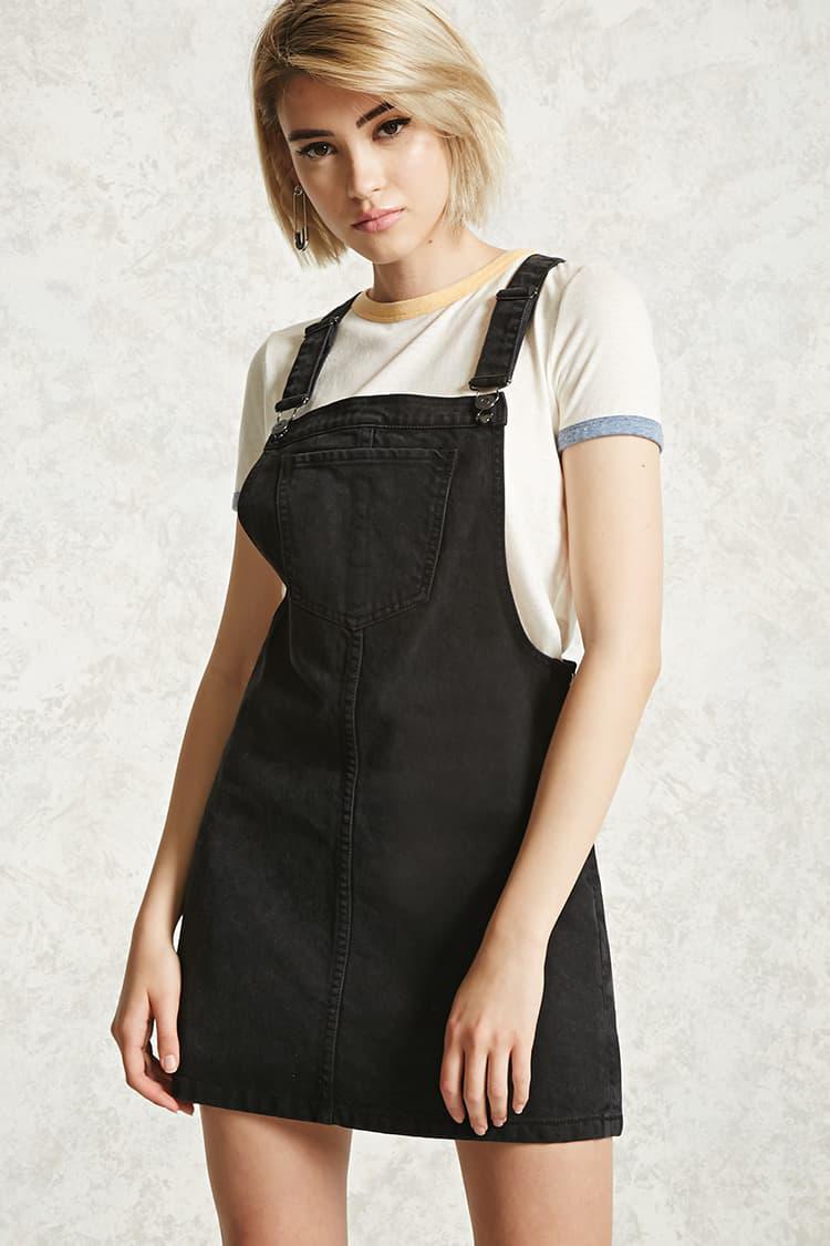 Forever 21 Denim Overall Mini Dress In Black Lyst