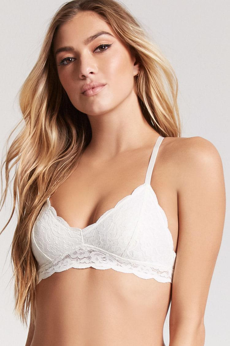 4398010ee3 Lyst - Forever 21 Scalloped Lace Y-back Bralette in White