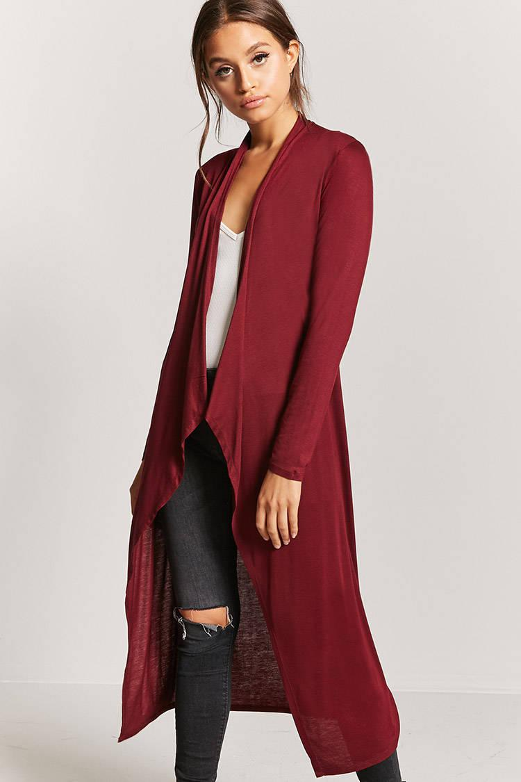 Forever 21 Jersey Knit Draped Duster Cardigan in Red | Lyst
