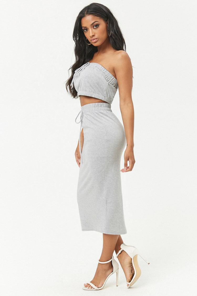 e6c117ba47 Lyst - Forever 21 French Terry Cropped Tube Top   Midi Skirt Set in Gray