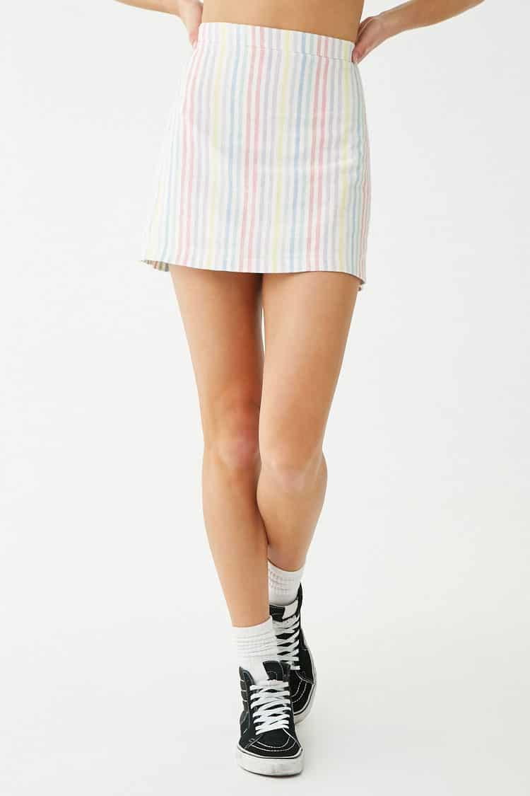 0e3da39d6d Forever 21 Linen-blend Striped Mini Skirt in White - Lyst