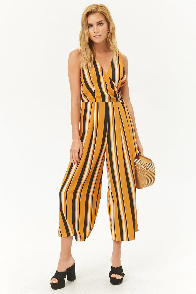 d635a032314 Lyst - Forever 21 Striped Surplice O-ring Palazzo Jumpsuit in Metallic