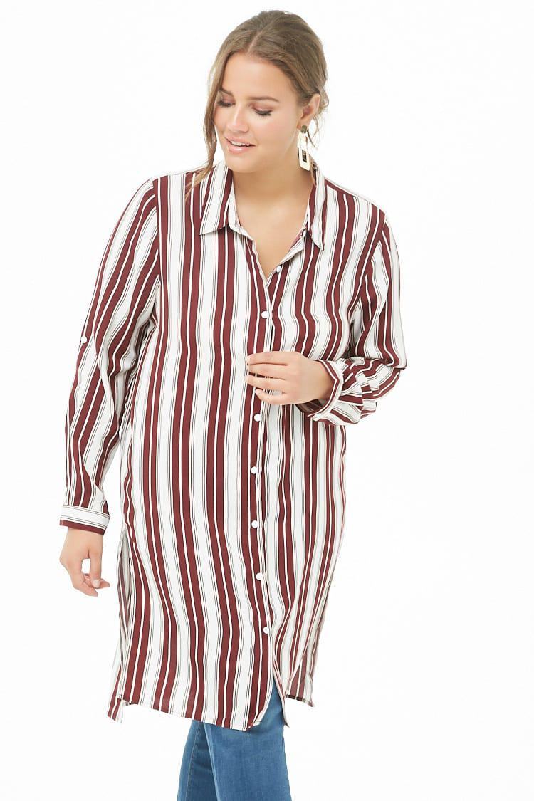 c6a2b642f3f Forever 21 Women's Plus Size Striped Shirt Tunic in Red - Lyst