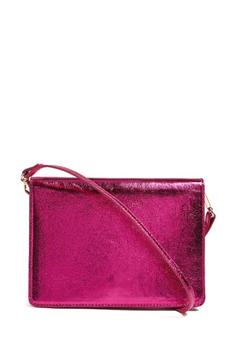 Lyst - Forever 21 Metallic Crossbody Bag In Pink