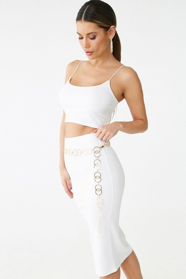 973216996e Lyst - Forever 21 Stretch Cropped Cami & Pencil Skirt Set in White