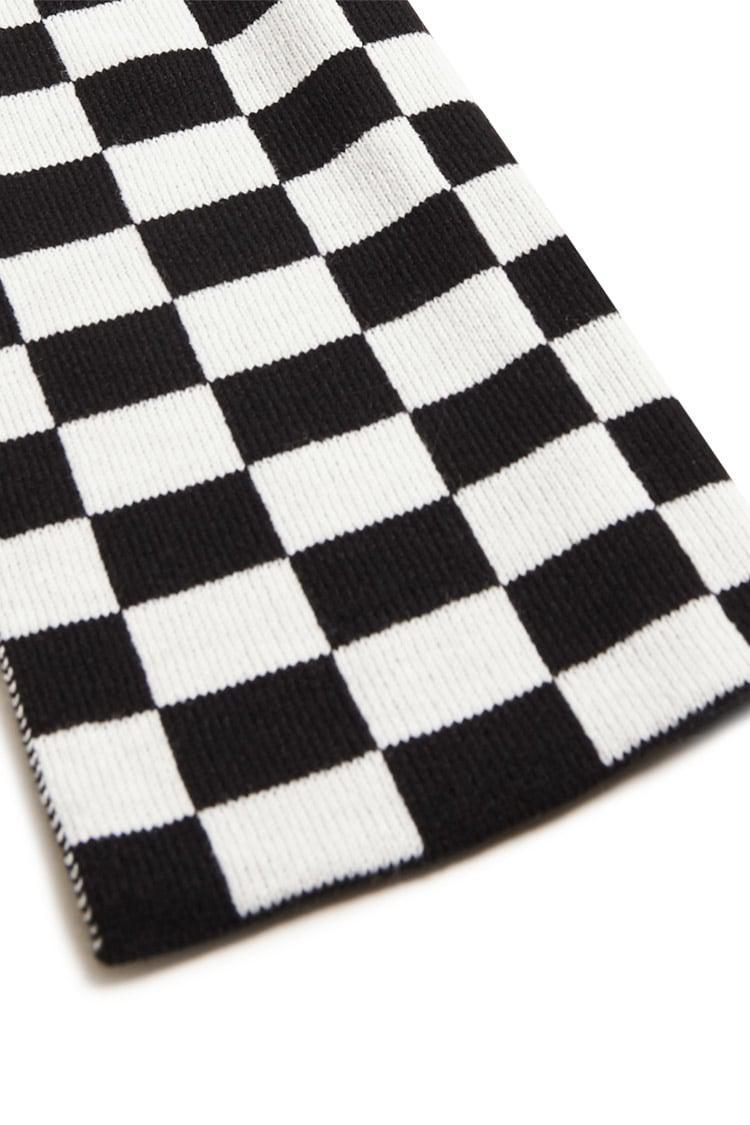 cfe56115738b3 Forever 21 Men Checkered Knit Scarf in Black for Men - Lyst