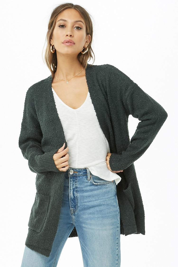 070336bb9e1 Forever 21 Women's Open-front Boucle Cardigan Sweater in Green - Lyst