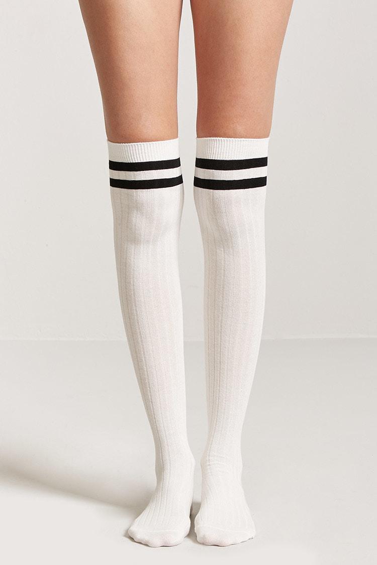 7dacfaf0200 Forever 21 Varsity Striped Over-the-knee Socks in White - Lyst