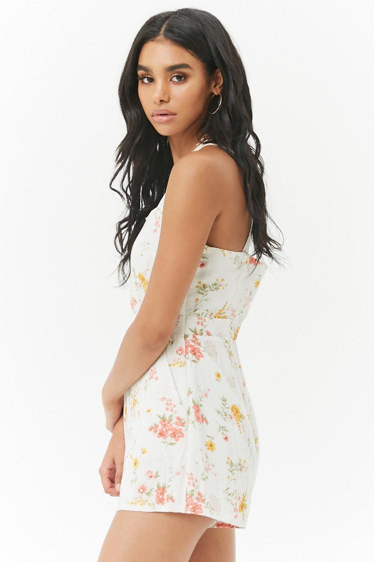 ea15d9189ea Lyst - Forever 21 Crinkled Floral Romper in White