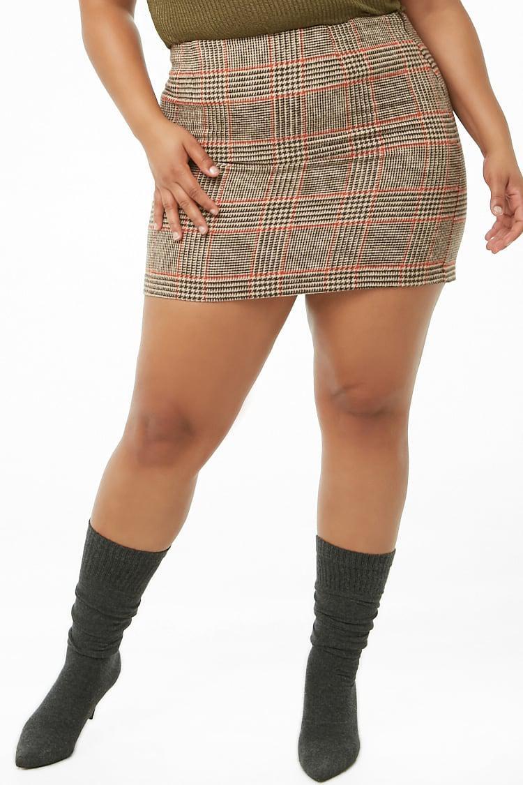 0c3c29157e Forever 21 - Brown Women's Plus Size Glen Plaid Mini Skirt - Lyst. View  fullscreen