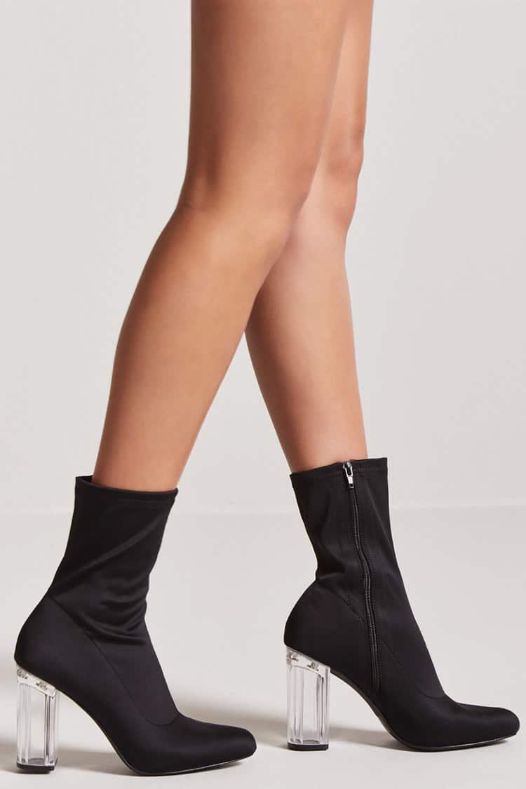 0bc3f52a550 Forever 21 Black Lucite Sock Boots