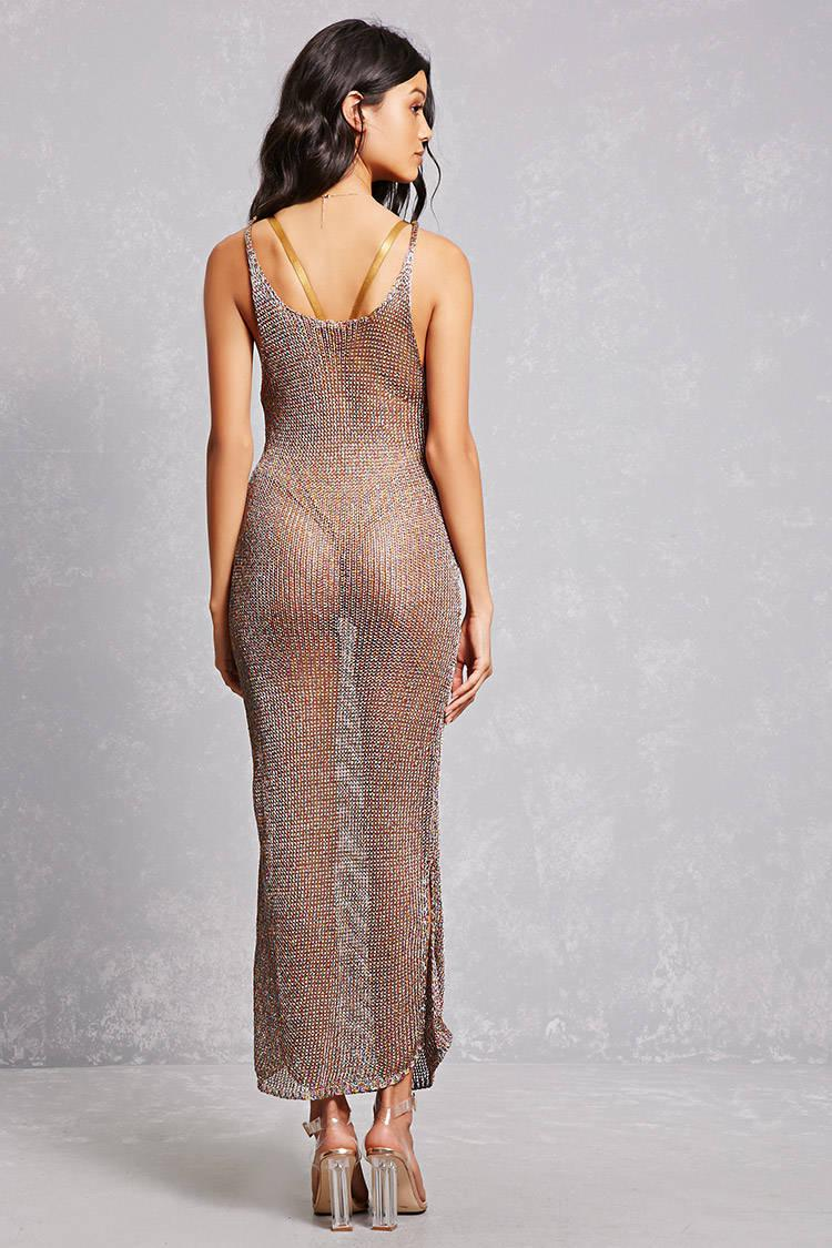 Forever 21 Synthetic Sheer Metallic Knit Maxi Dress Lyst