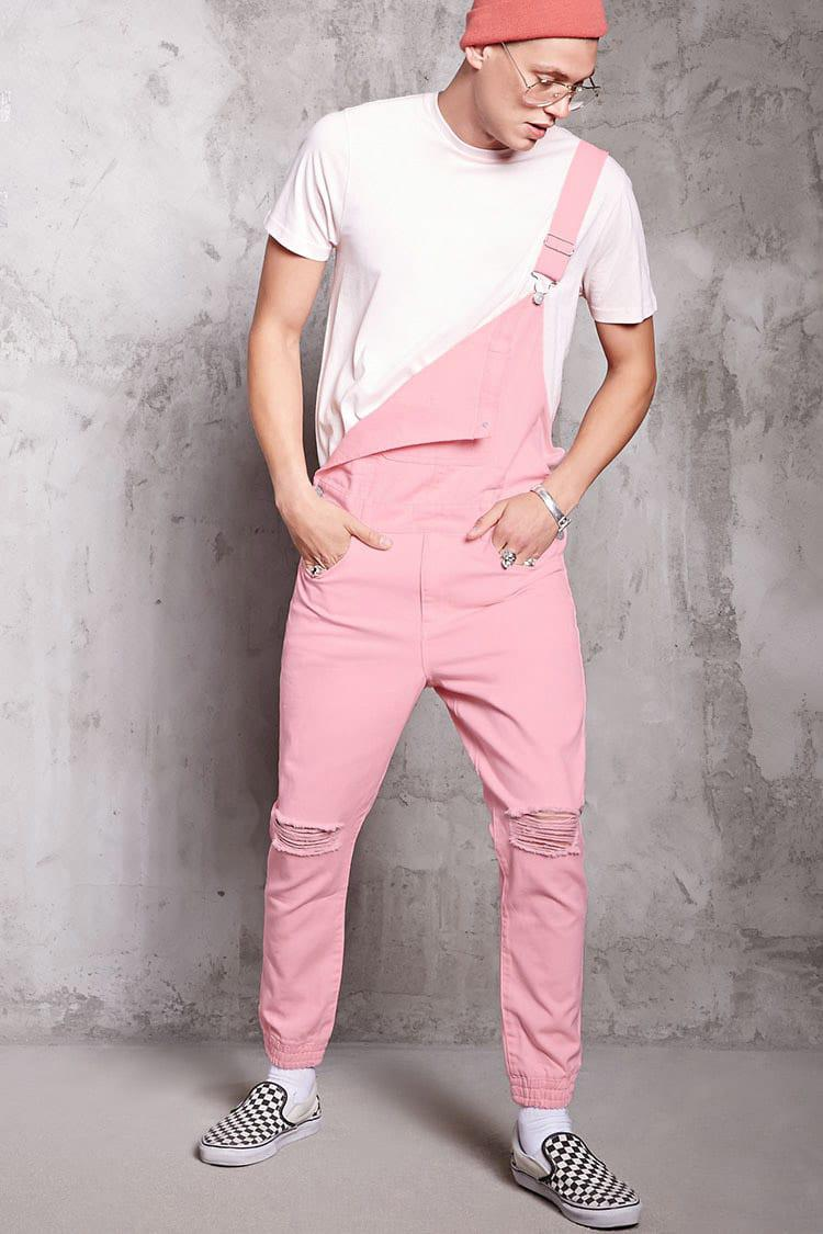 attractive & durable pretty nice big discount sale Forever 21 Pink Distressed Denim Overalls for men