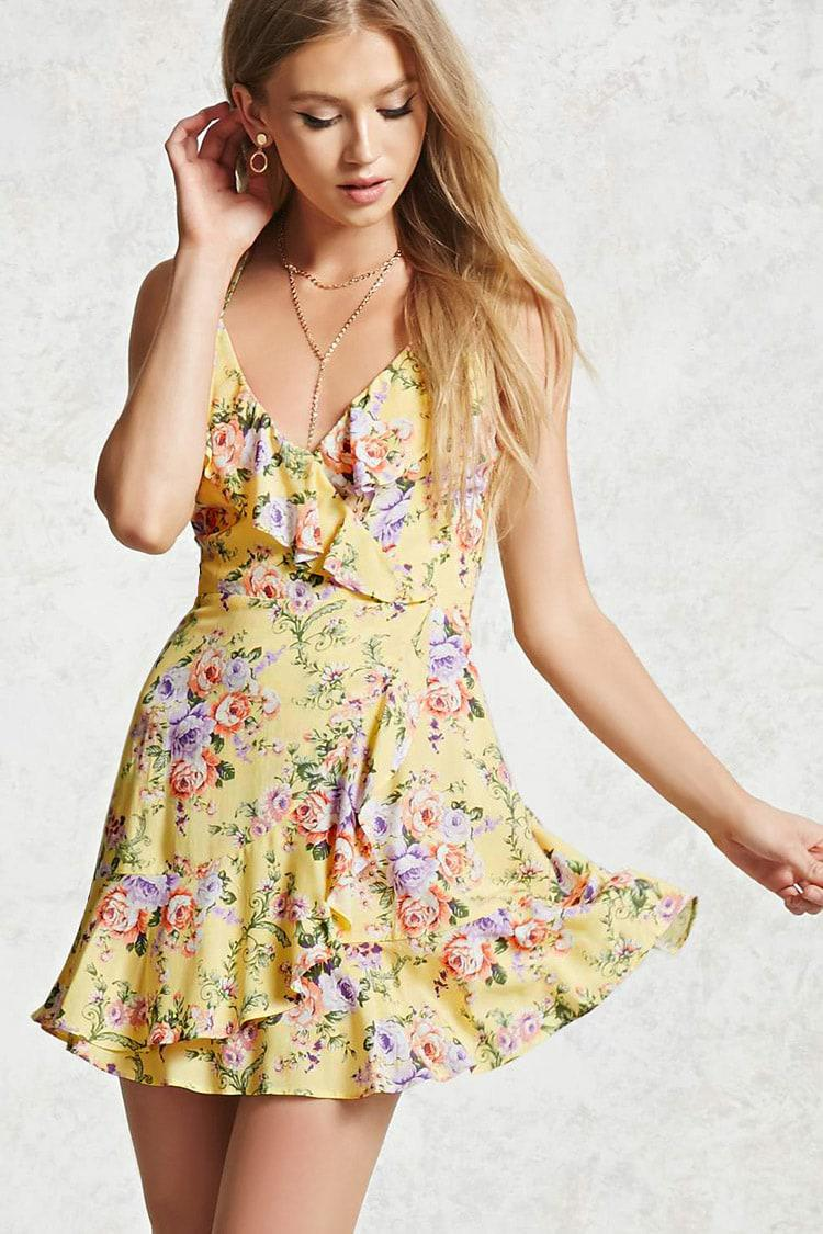 Forever 21 Floral Surplice Cami Dress In Yellow Lyst
