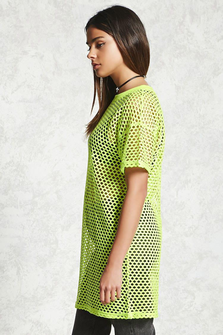7a6600f779d6 Forever 21 Open-mesh T-shirt Dress in Yellow - Lyst