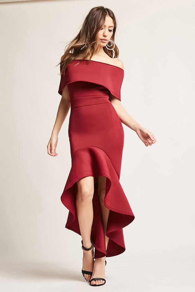54ca99da7e0d58 Lyst - Forever 21 Off-the-shoulder Mermaid Dress in Red
