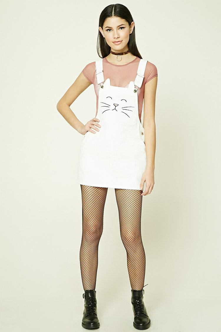 a3eee7cdc1 Lyst - Forever 21 Embroidered Cat Overall Dress in Natural