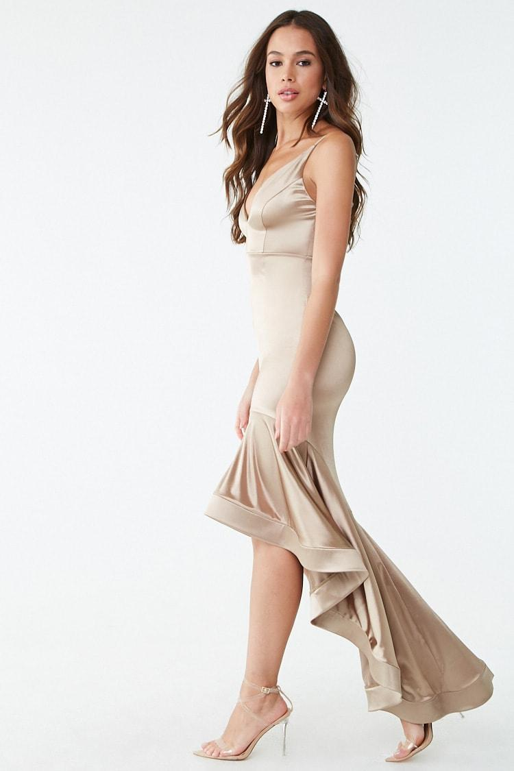 f2ea2754cc2 Forever 21 Satin High-low Mermaid Gown in Metallic - Lyst