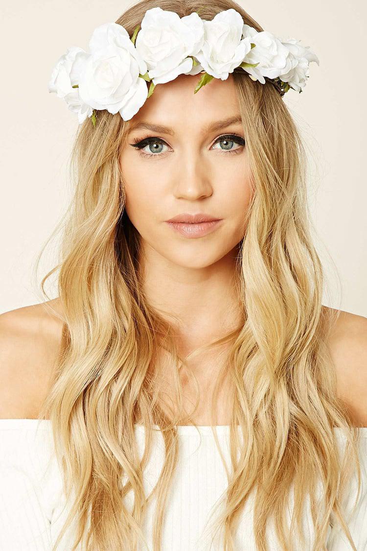Lyst forever 21 rose flower crown headwrap in white gallery izmirmasajfo