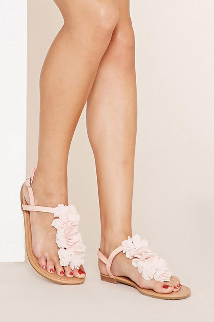 Lyst - Forever 21 Rhinestone Flower Sandals in Pink e8d39ebeb677