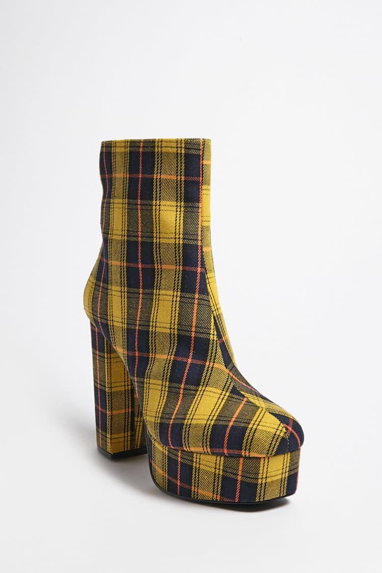 Forever 21 Cotton Plaid Platform Boots