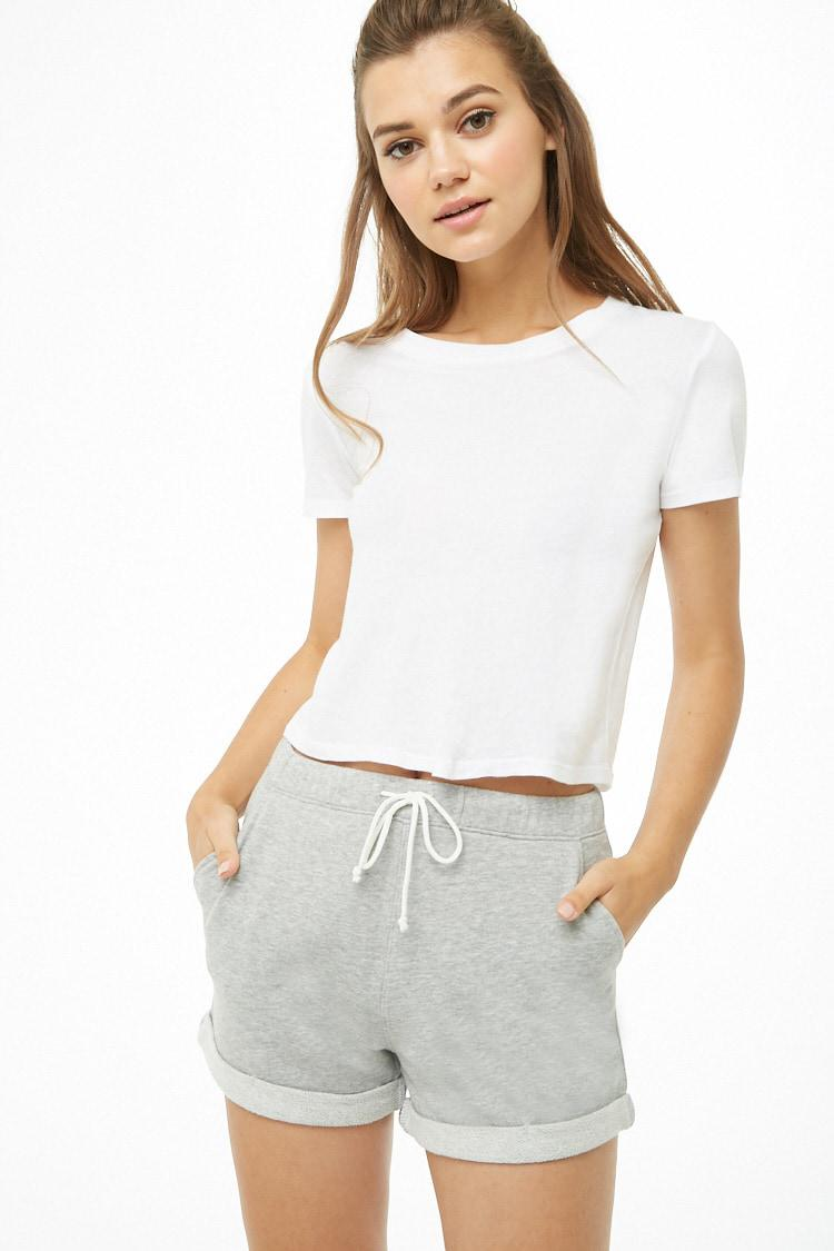 fd16b1a6c8d17d Lyst - Forever 21 French Terry Drawstring Shorts in Gray