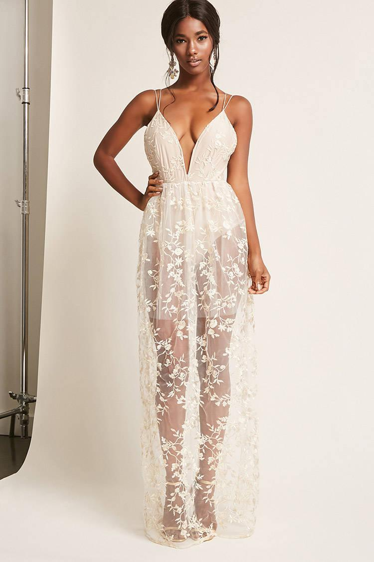 14389316aa2 Forever 21 Floral Embroidered Maxi Prom Dress - Lyst