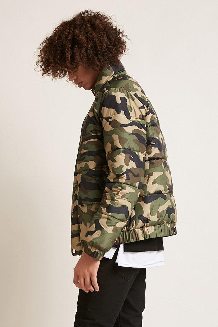 Lyst Forever 21 Camo Print Puffer Jacket For Men