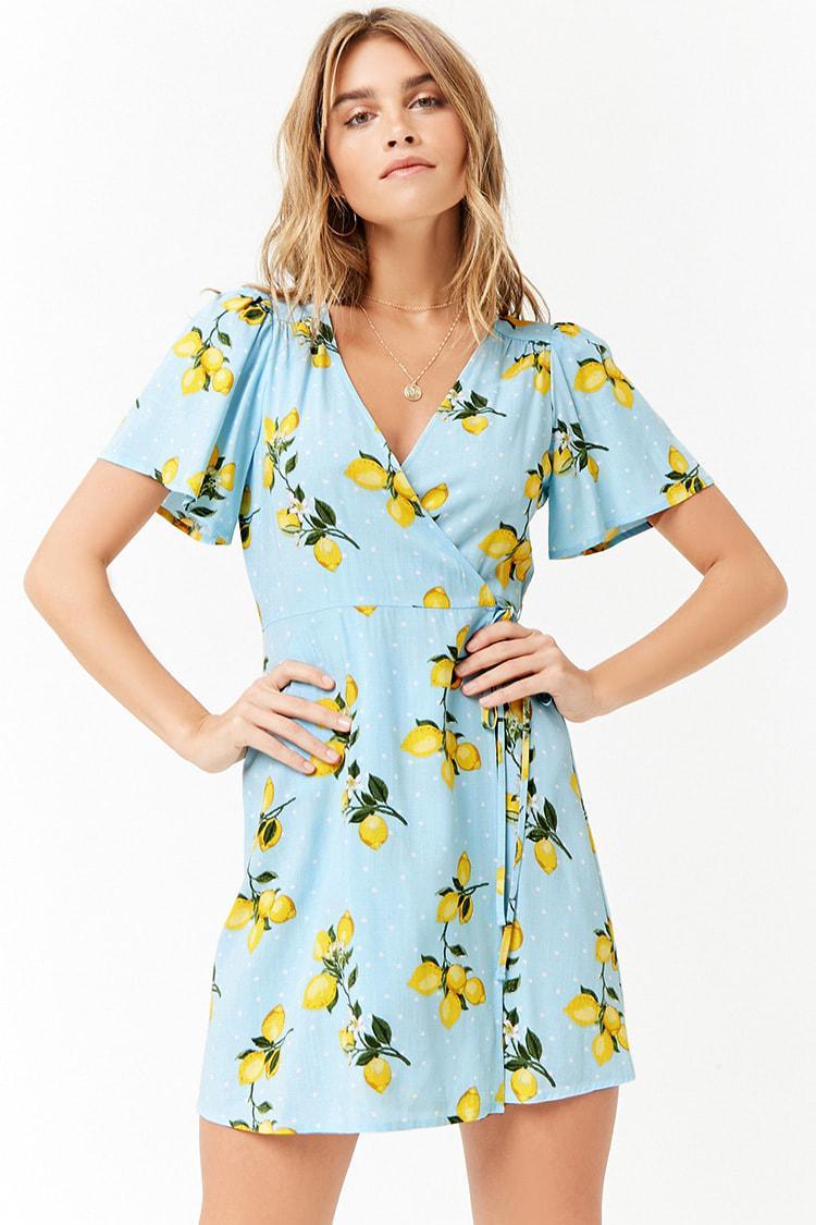 2433c6fd22c Forever 21 Lemon Print Mini Wrap Dress in Blue - Lyst