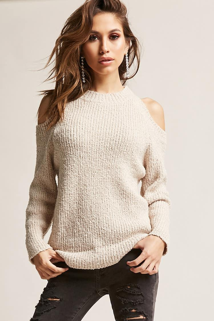 cbb260f9c71 Forever 21 Open-shoulder Sweater in Natural - Lyst