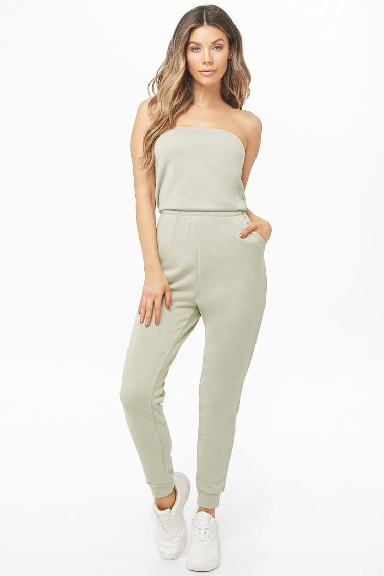 c2e09fda10a7d2 Lyst - Forever 21 French Terry Tube Jogger Jumpsuit