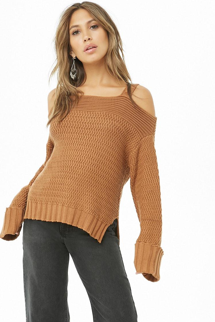 e1986d46e14 Lyst - Forever 21 Ribbed Open-shoulder Sweater in Brown