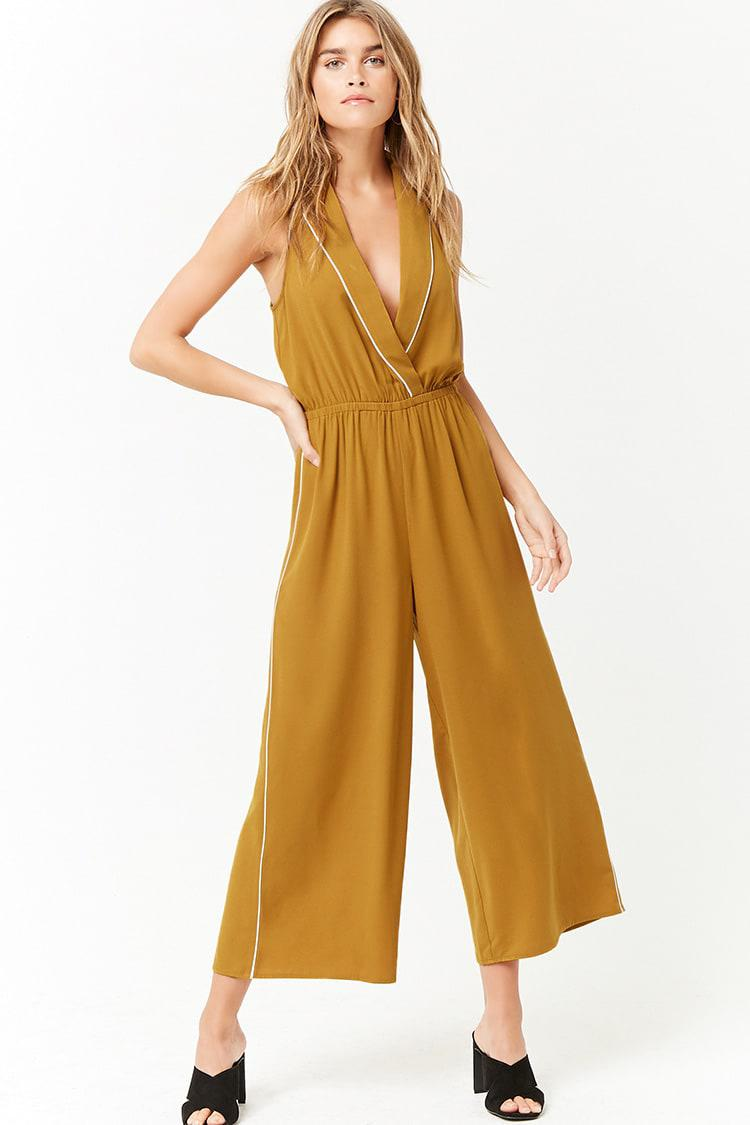 5de22fb9d31e Lyst - Forever 21 Women s Collared Capri Jumpsuit in Yellow