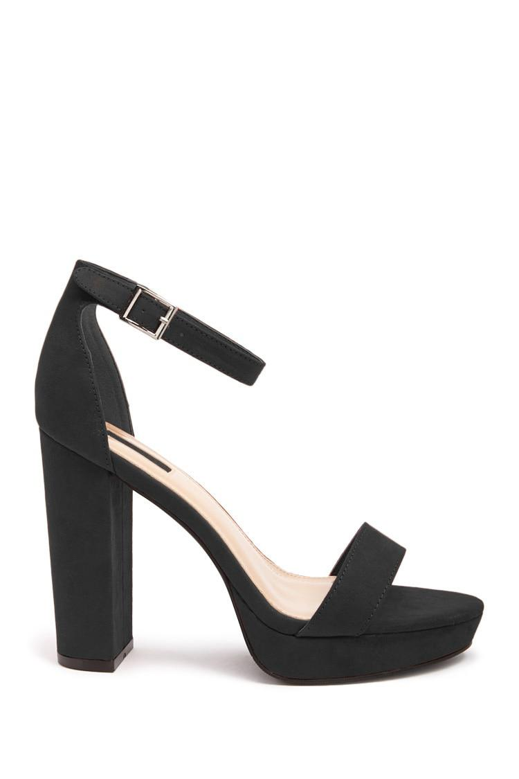 08b2431a28b Lyst - Forever 21 Faux Suede Ankle-strap Platform Heels in Black
