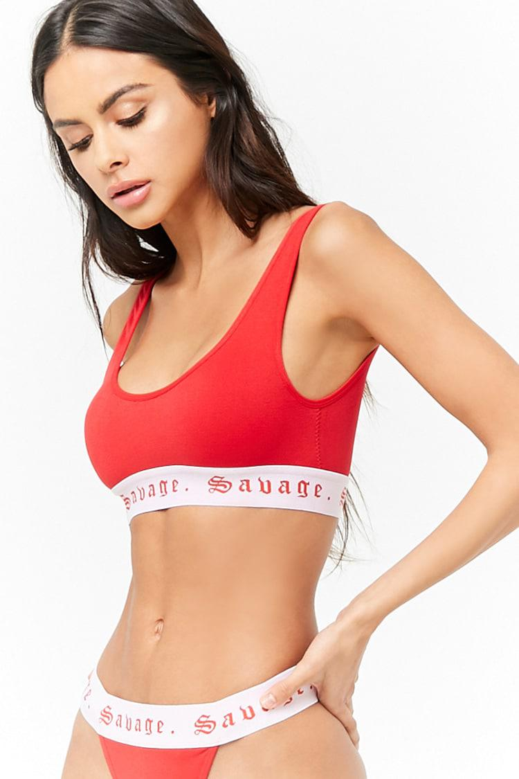 886f9f35c6f91 Lyst - Forever 21 Savage Graphic Seamless Bralette in Red