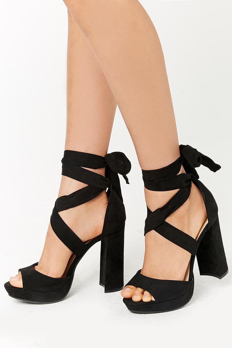 best choice official images buy Forever 21 Faux Suede Wraparound Platform Heels in Black - Lyst