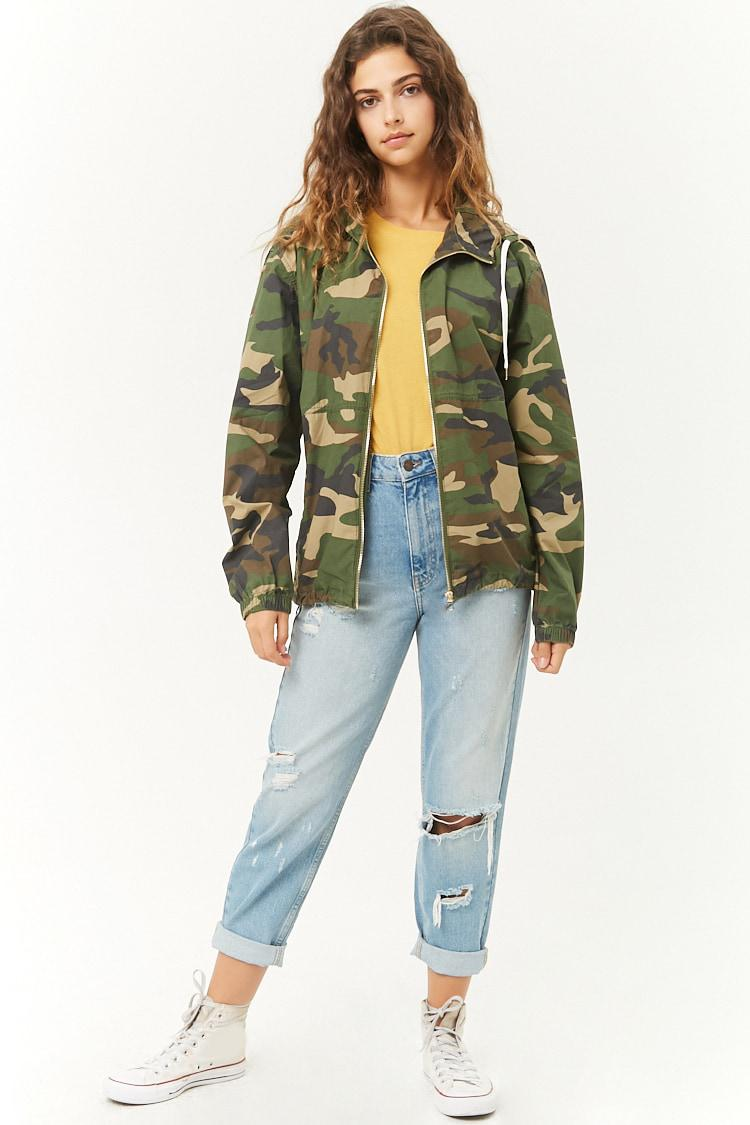 e54fdc3db Forever 21 Hooded Camo Jacket - Lyst