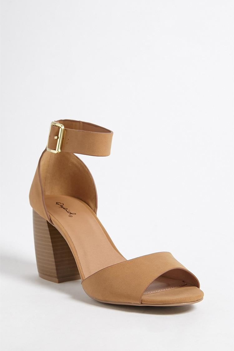 8e68f93426b Forever 21 - Multicolor Qupid Faux Suede Open-toe Heels - Lyst. View  fullscreen