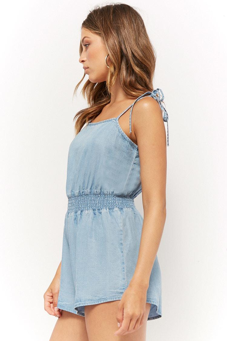 99f6da5edf7 Lyst - Forever 21 Women s Self-tie Chambray Playsuit in Blue