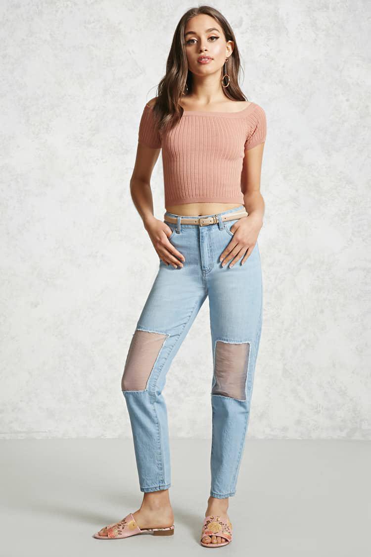 Forever 21. Women's Blue Sheer Mesh Knee Boyfriend Jeans