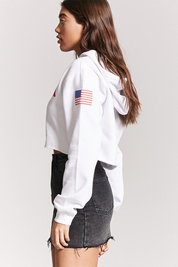 858df90552bd5 Lyst - Forever 21 Nasa Graphic Cropped Hoodie in White