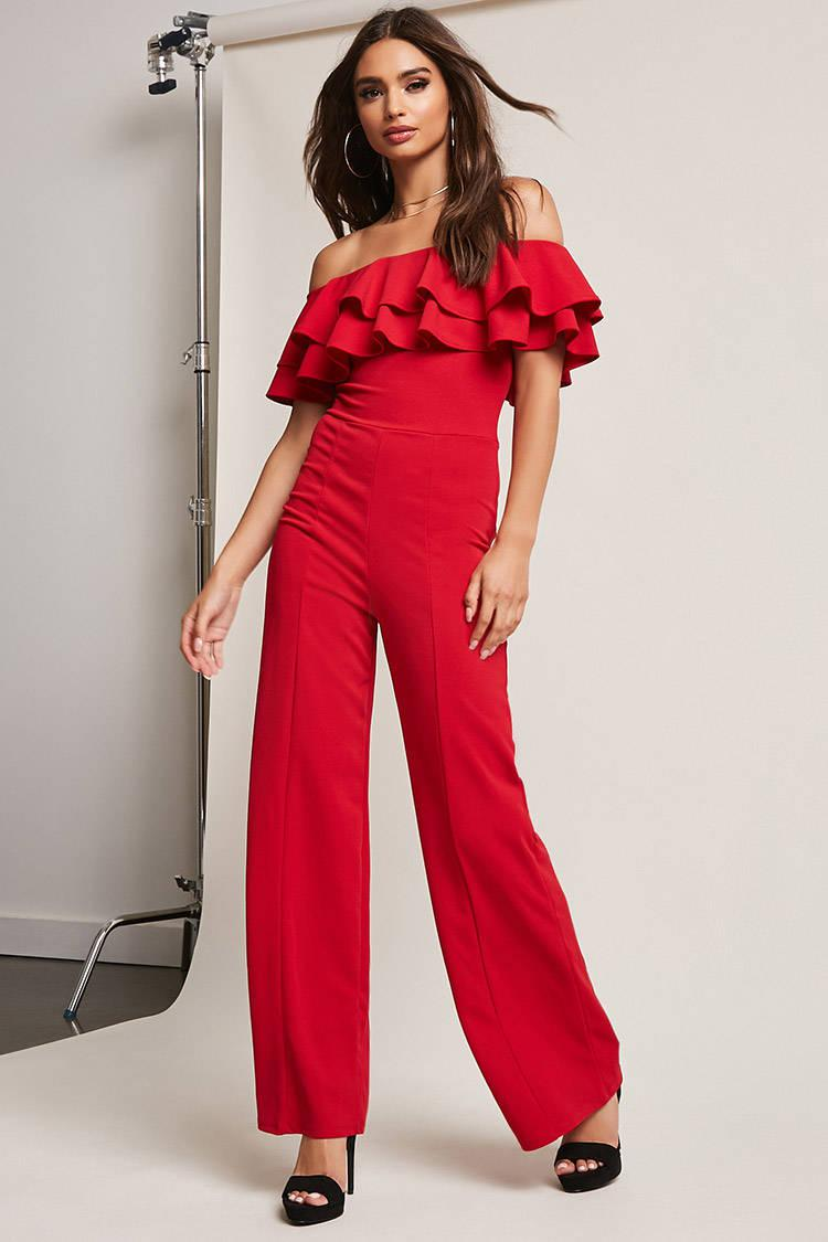 7ebfeda348 Lyst - Forever 21 Off-the-shoulder Flounce Jumpsuit in Red