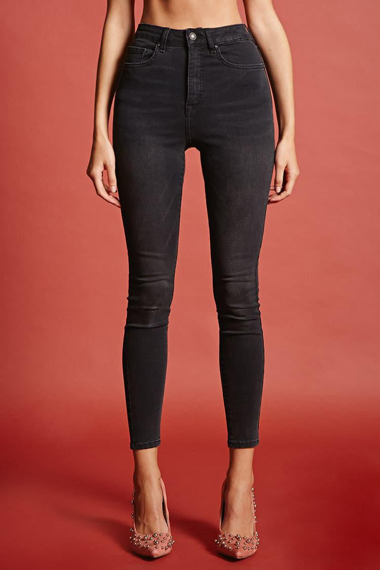 2df5d755fa Forever 21 Sculpted High-rise Skinny Jeans in Black - Lyst