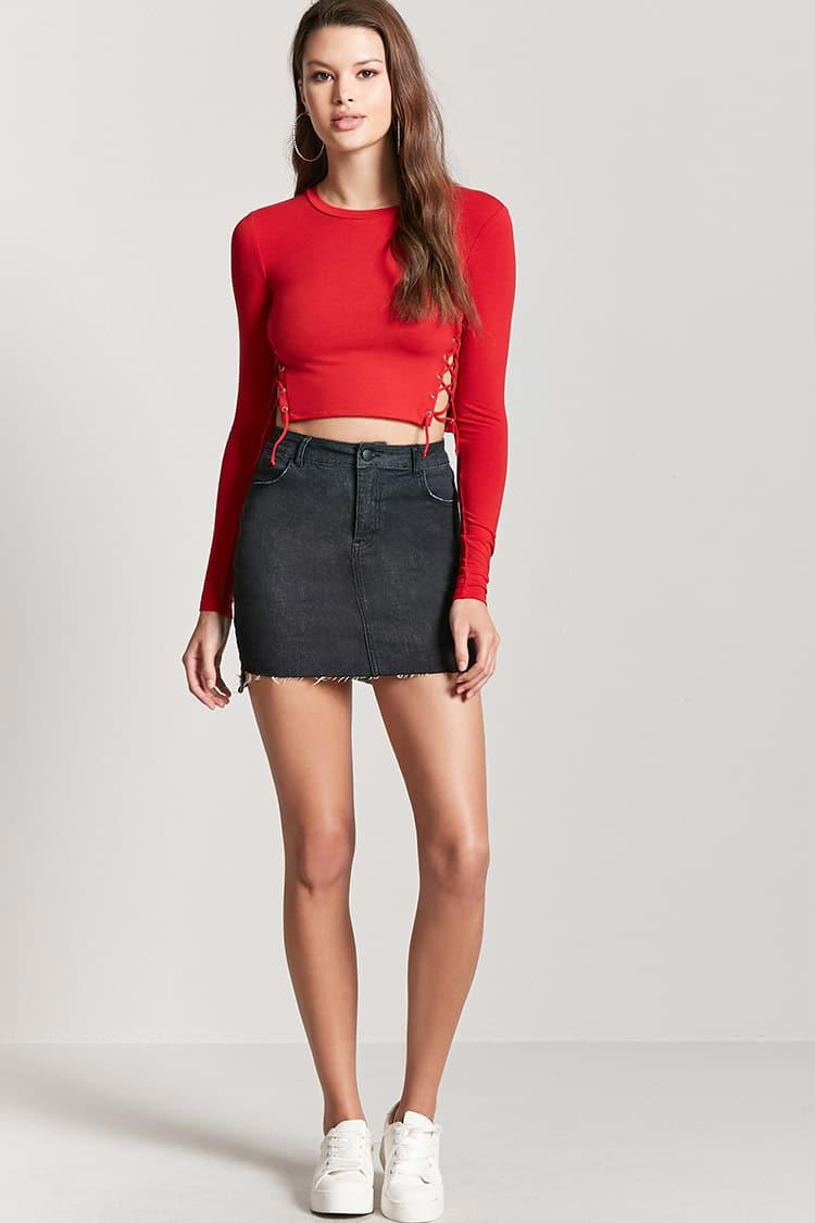 Lyst Forever 21 Lace Up Crop Top In Red