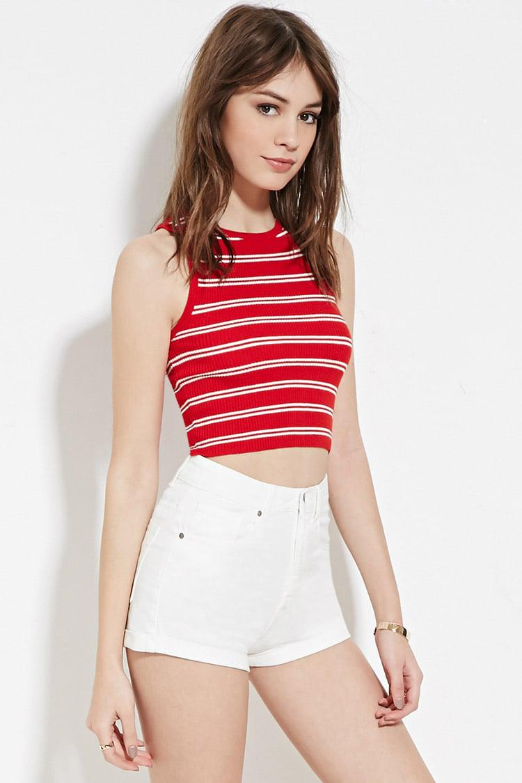 Forever 21 Cropped Stripe Sweater in Black - Lyst