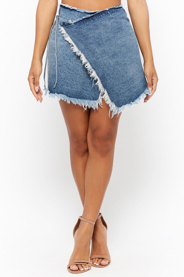 768d08129c27 Lyst - Forever 21 Momokrom Wrap Denim Mini Skirt in Blue