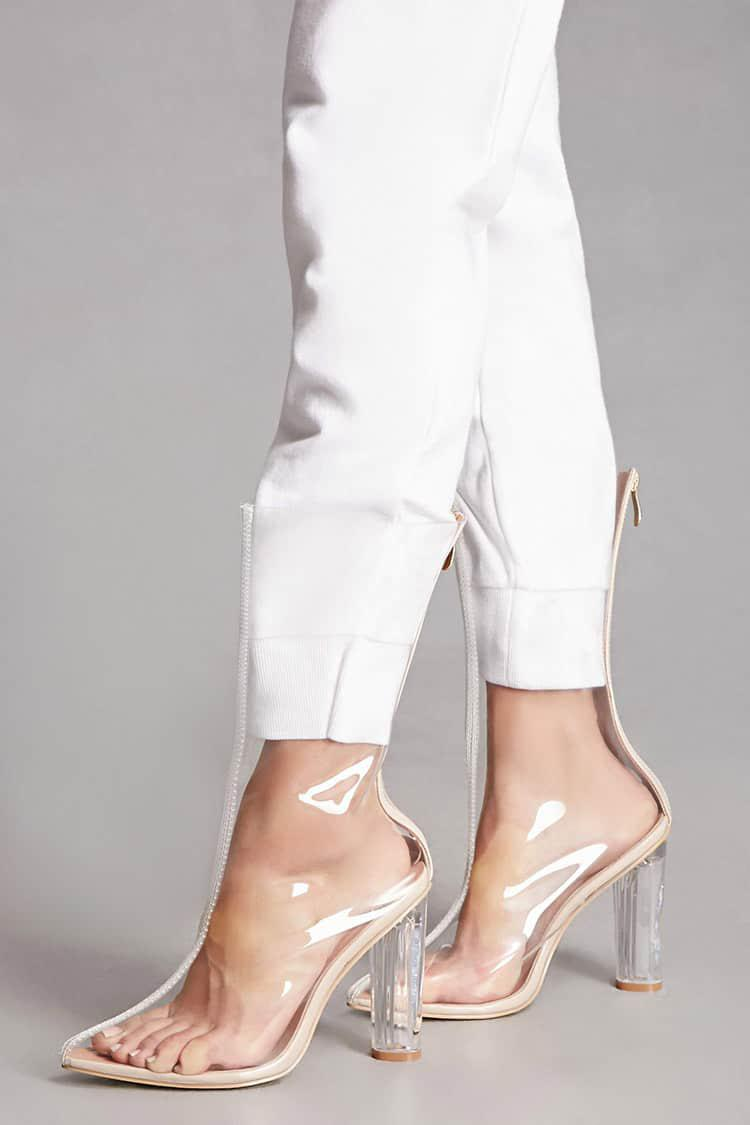 8cb58a023b3 Forever 21 White Tall Clear Lucite Heel Boots