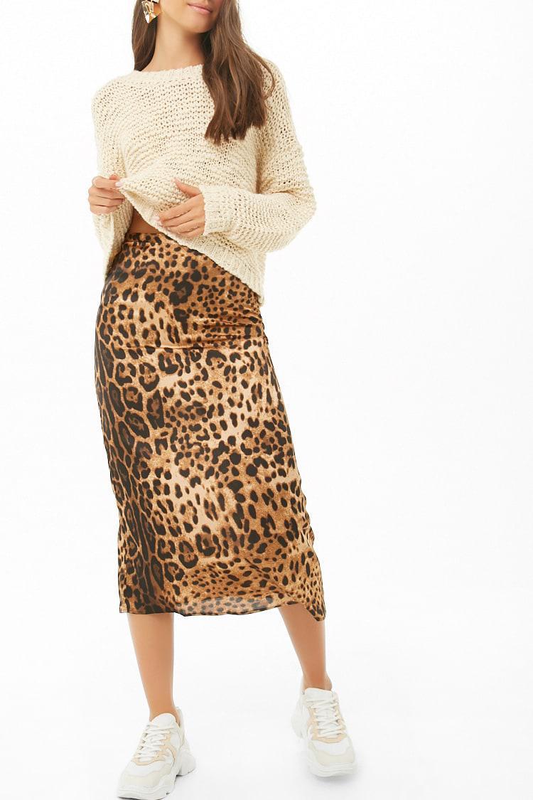 d08aec0bd Forever 21 Leopard Print Midi Skirt - Lyst