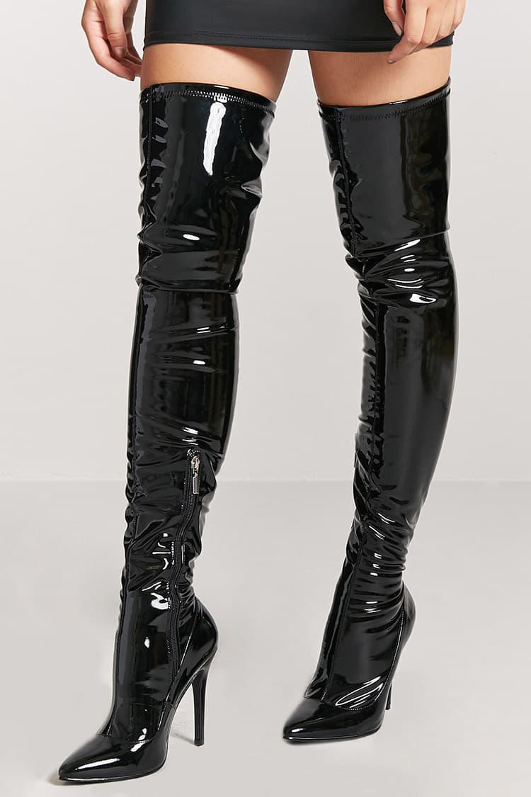 5b2bbec40e2 Forever 21 Faux Patent Leather Thigh-high Boots in Black - Lyst